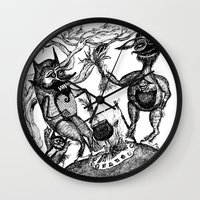 wild things Wall Clocks featuring Wild Things by intermittentdreamscapes
