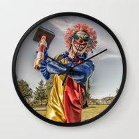 clown Wall Clocks featuring CLOWN by Steve Zar