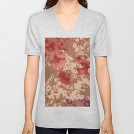 Red Petunias With Sweet White Flowers Unisex V-Neck