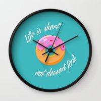 dessert Wall Clocks featuring Dessert by ministryofpixel