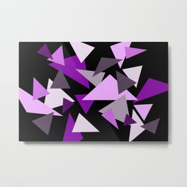 Purple Triangels on black background Metal Print