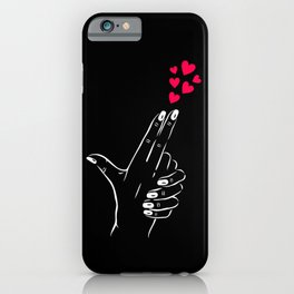WOMAN GUN HAND SHOOTING HEARTS iPhone Case