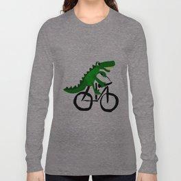 Funny Alligator Riding on Bicycle Original Artwork Long Sleeve T-shirt