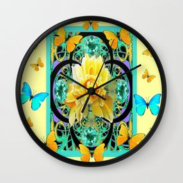 Yellow & Turquoise Butterflies & Rose Pattern Wall Clock
