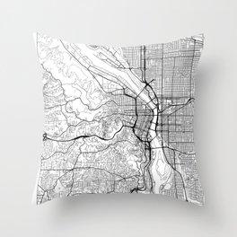 Portland Map White Throw Pillow