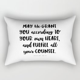 Psalm 20:4 - Bible Verse Rectangular Pillow