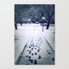 Footsteps in the Snow Canvas Print
