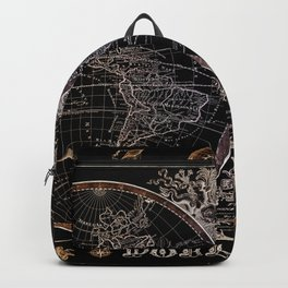 world map old vintage black Backpack