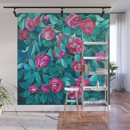Camellias, lips and berries. Wall Mural