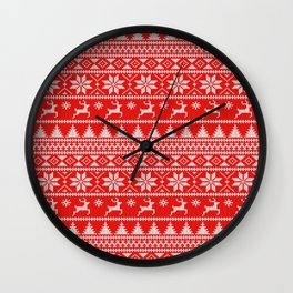 Fair Isle Christmas Wall Clock