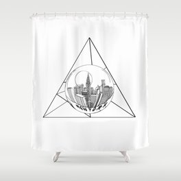 GRAPHIC Geometric. Shape Gray New York in a Bottle Shower Curtain