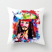 jack sparrow Throw Pillows featuring Captain Jack Sparrow by isabelsalvadorvisualarts