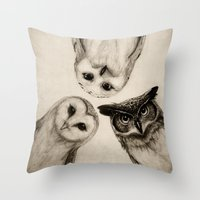 illustration Throw Pillows featuring The Owl's 3 by Isaiah K. Stephens