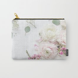 SPRING FLOWERS WHITE & PINK Carry-All Pouch