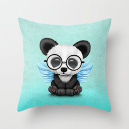 Cute Panda Cub with Fairy Wings and Glasses Blue Throw Pillow