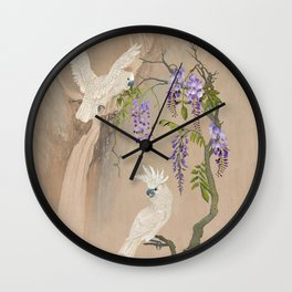 Cockatoos and Wisteria Wall Clock