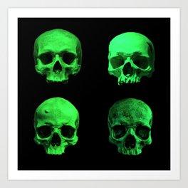Skull quartet green Art Print