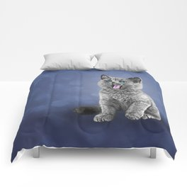 Drawing funny kitten 3 Comforters