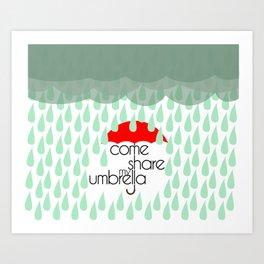 Come Share My Umbrella Art Print