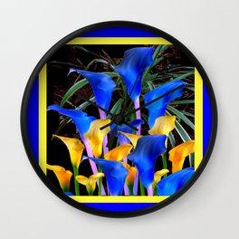 BLUE-BLACK MODERN ABSTRACT BLUE & GOLD CALLA LILIES Wall Clock