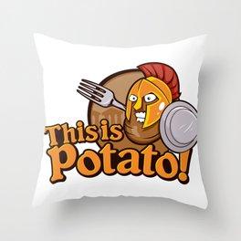 Potato Spartan Warrior Cartoon Throw Pillow