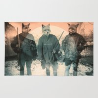 michael jackson Area & Throw Rugs featuring Fox Hunt by Chase Kunz