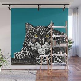 snow leopard teal Wall Mural