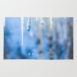 Icicles and drops in a birch grove Rug