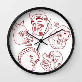 Japanese Masks Wall Clock