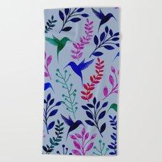 Watercolor Floral & Birds Beach Towel