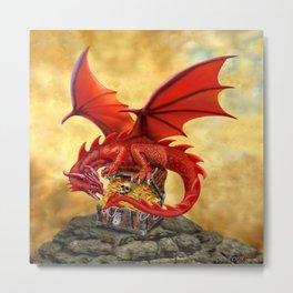 Red Dragon's Treasure Chest Metal Print