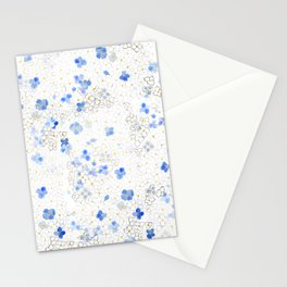 blue abstract hydrangea pattern Stationery Cards