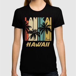 Retro Lanikai Beach Hawaii Palm Trees Vacation T-shirt