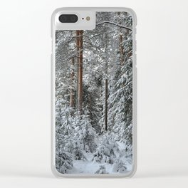 Wintry forest. Clear iPhone Case