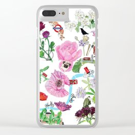 London in Bloom - Flowers and transportation that make London Clear iPhone Case