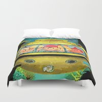 the life aquatic Duvet Covers featuring Earth Aquatic by ScoDeluxe