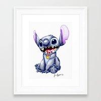 stitch Framed Art Prints featuring Stitch by J Spiggle