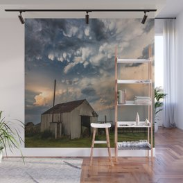 August Eve - Storm Sky Over Old Barn in Oklahoma Wall Mural