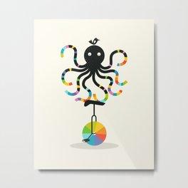 Unicycle Octopus Metal Print