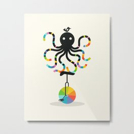 Unicycle Octopus Metal Print