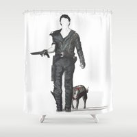 mad max Shower Curtains featuring Mad Max & Dog by NorthLight