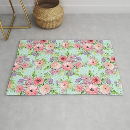 Blooming floral bouquet watercolor hand paint Rug