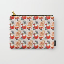 Foxes and Gryphons Pattern Carry-All Pouch