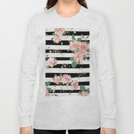 VINTAGE FLORAL ROSES BLACK AND WHITE STRIPES Long Sleeve T-shirt