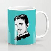 tesla Mugs featuring Nikola Tesla by Laura Meg