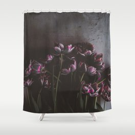 Dark Purple Floral (Color) Shower Curtain