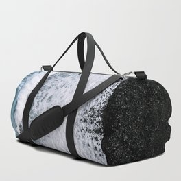 Aerial of a Black Sand Beach with Waves - Oceanscape Duffle Bag