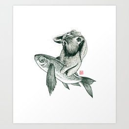 Rabbit & Rocketfish Art Print