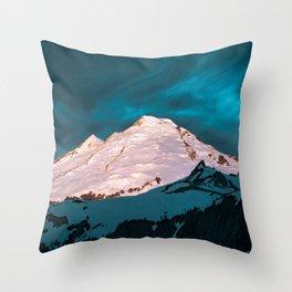 Mt Baker Blue Throw Pillow