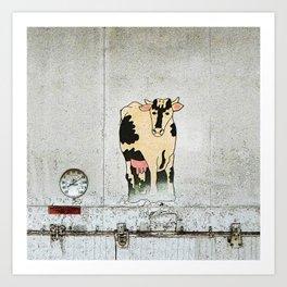 Old Milk House Cow Art Art Print